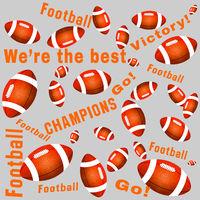 Orange color American football balls and texts
