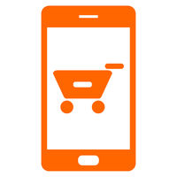 Warenkorb und Smartphone - Shopping cart and smartphone