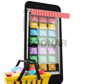 3d E-commerce, Smartphone with mobile app.