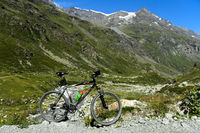 Mountain bike in alpine landscape,  Val de Bagnes, Valais, Switzerland