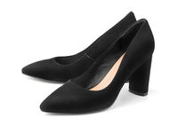 Pair of black female suede shoes