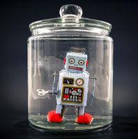 retro robot toy trapped