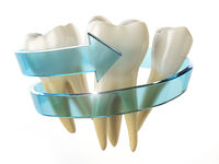 Tooth protection concept. Teeth with blue arrow isolated on white background.