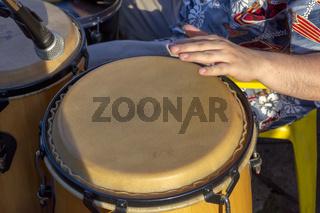 Brazilian samba drums in street carnival party