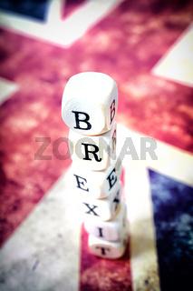 Brexit Buchstabenwürfel auf Union Jack