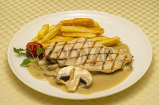 Chicken steak.  Chicken steak with roasted potatoes and mushroom sauce. Chicken steak is served with