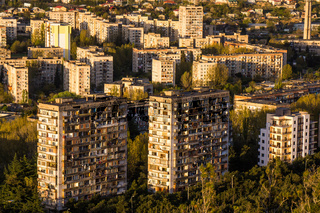 tiflis residential area with soviet buildings
