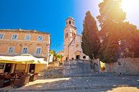 Town of Cavtat stone church sun haze view