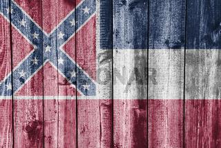 Fahne von Mississippi auf alter Holzwand - Flag of Mississippi on old wooden wall