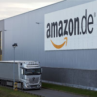 Trucks in front of Amazon logistics centre, Rheinberg, North Rhine-Westphalia, Germany, Europe