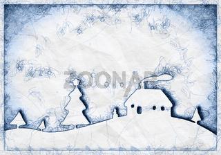 blue ballpoint pen doodle christmas background