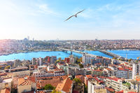 Sultan Ahmet district and the bridges over the Golden Horn, Istanbul