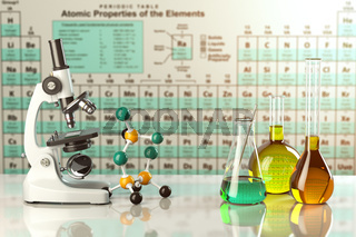 Microscope and test glass flasks and tubes with colored solutions on the periodic table of elements. Laboratory glassware. Science chemistry and research concept.