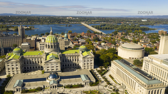Aerial Perspective Harrisburg state capital of Pennsylvania along on the Susquehanna River