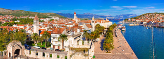Town of Trogir waterfront and landmarks panoramic view