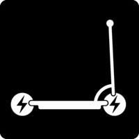 Ellectric scooter icon in geometric and flat style.