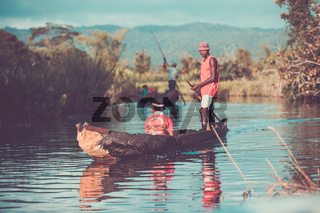 Daily life in madagascar countryside on river