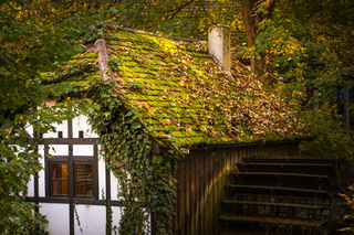 Half Timber House Cottage Village River Waterwheel Architecture Fairy Tale Building Forest Leaves Fantasy Warm Sunset Afternoon Cozy German European Story