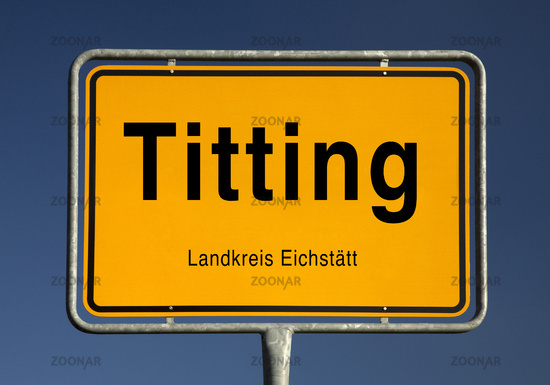 Entrance sign of Titting, market town in the district of Eichstaett, Bavaria, Germany, Europe