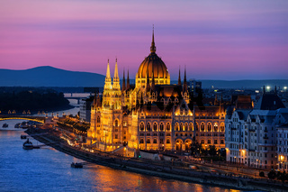 Hungarian Parliament at Twilight in Budapest City