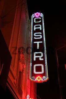 San Francisco Castro theater Gay district city scene at twilight