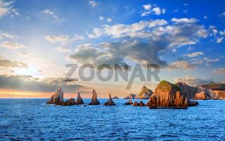 Evening Atlantic landscape, Asturias, Spain.