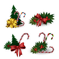 Set of festive composition with Christmas tree branches with bows on a white background.
