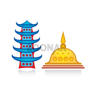 Buddhist pagoda and stupa. Religious temples, architectural structures.
