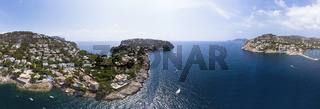 Aerial view, coast and natural harbor with lighthouse, Port d'Andratx, Andratx region, Mallorca, Bal