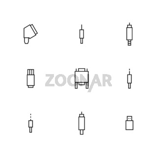 Set of different video and audio connectors, vector illustration.