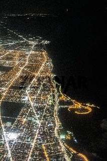 flying over chicago illinois at night