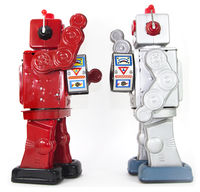 two retro robots high five each other isolated