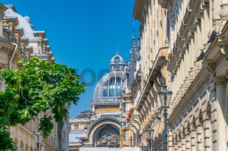 Palace of the Deposits and Consignments building in Bucharest, Romania. CEC Palace on a sunny summer day with a blue sky in Bucharest, Romania