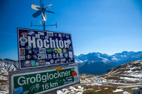 GROSSGLOCKNER, AUSTRIA - SEPTEMBER 16, 2012: A road sign along the Grossglockner High Alpine Road in Austria