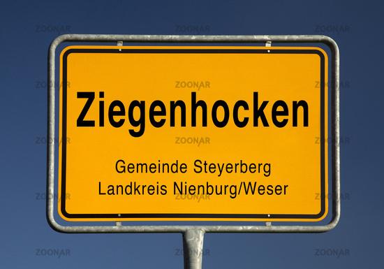 Ziegenhocken place name sign, district of Bruchhagen in the municipality Steyerberg, Germany, Europe
