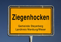 Ziegenhocken place name sign, district of Bruchhagen in the municipality Steyerberg, Germany, Europe