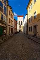 Beautiful streets of the historical part of the old town in a fall day.