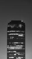 Black and white building city night scene in Bangkok, Thailand.
