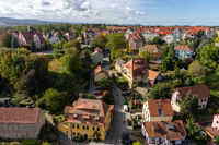View of the Bautzen (residential building) from the height of the old Waterworks tower. Germany.