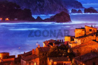 Tossa de Mar Town at Dusk on Costa Brava