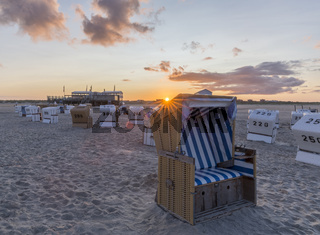 Traditional beach baskets or hooded beach chairs at nothern Germany