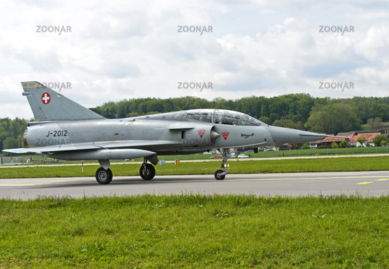 fighter jet Mirage III after landing on the runway, military airfield Payerne, Switzerland