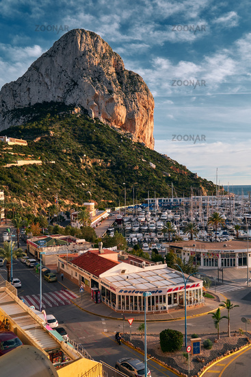 Limestone rock located at Natural Park of Penyal d'Ifac in Calpe touristic city. Spain