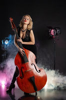 Young Woman And Double Bass