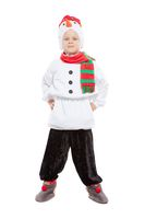 Little adorable boy in a snowman costume