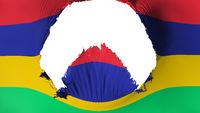 Big hole in Mauritius flag