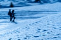 People walking on snow, snowshoes, winter, two