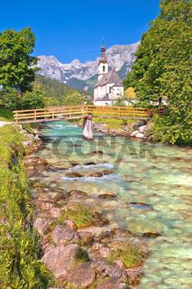 Sankt Sebastian pilgrimage church with alpine turquoise river alpine landscape view, Ramsau