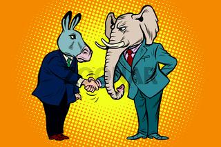 donkey shakes elephant hand. Democrats Republicans