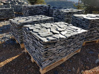 Stone Tiles on Several Pallets in a Quarry